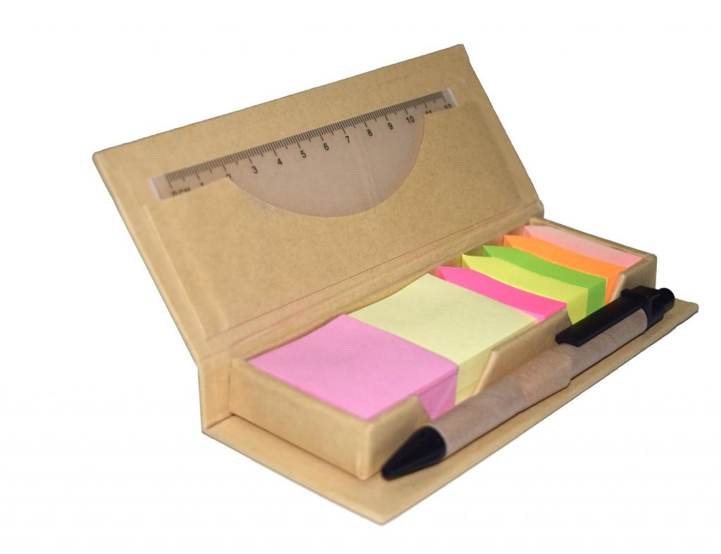 Bloco de anotações com Post-it + régua + caneta