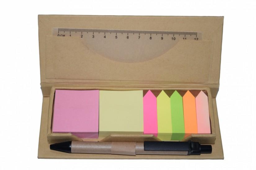Foto 2 do produto Bloco de anotações com Post-it + régua + caneta